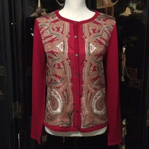 Talbots silk wool pullover red large cardigan